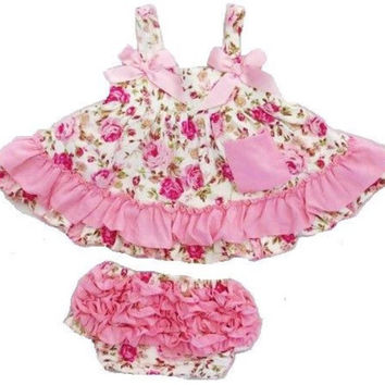 Baby Swing Top, Floral, girls swing top, floral outfit, 1st Birthday, Cake Smash, WITH Chunky Necklace and headband!