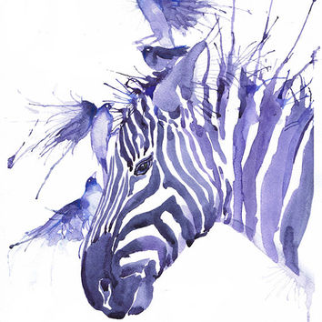 Zebra and birds, art,  watercolor, painting, wall decor, animal art, art print, nursery decor,  children art, Illustration