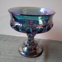 Vintage 1970 Carnival Glass Iridescent Blue Depression Glass  Wedding Bowl or Thumbprint NIB