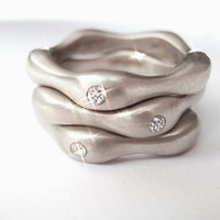 Pablo Valencia- Sensual Curves Sterling Silver and Diamond Stackable Rings Set of Three