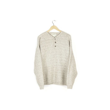 basic wool blend waffle knit henley sweater / eddie bauer / pullover / classic / minimal / tan beige cream / soft / cozy / mens large