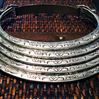 Floral Breastplate Tribal Choker Necklace Vintage Miao Hmong gypsy ethnic bohemian jewelry