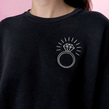 Silver Ring Embroidered Cropped Crewneck