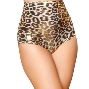 Roma Rave SH3059 - Gold/Brown Leopard High-Waisted Shorts