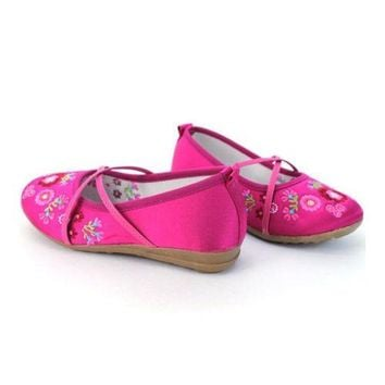 Old Beijing Embroidered Cloth Shoes Kid Ribbon   peach