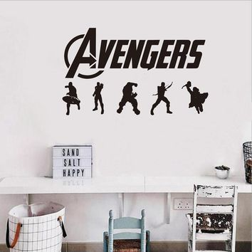 Free shipping The Avengers Wall Decal Sticker - Vinyl Super hero Wall Decal Sticker For Kids Boy Room Decor
