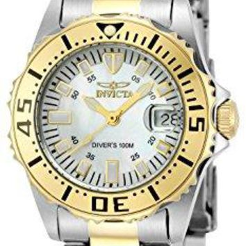 Invicta Pro-Diver Stainless Steel 18k Yellow Gold-Plated and Mother-of-Pearl Bracelet Watch