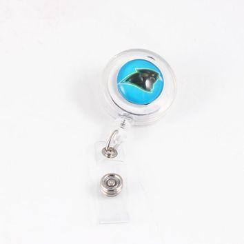 Newest American Football Design Carolina Panthers Retractable ID Badge Reel For Cards Holder Card Bus ID Holder for Sport Fan