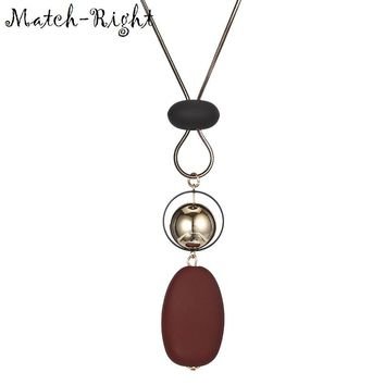 Match-Right Women Necklace Long Necklaces & Pendants Wood Beads Necklace For Women Jewelry YJZ-174