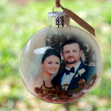 Our First Christmas Ornament Rustic Wedding Ornament Newlywed photo ornament Glass Christmas Ornament with Picture Photo Ornaments Christmas