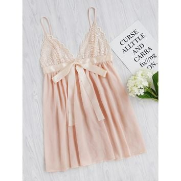 Lace Cup Sash Detail Babydoll Slip Dress
