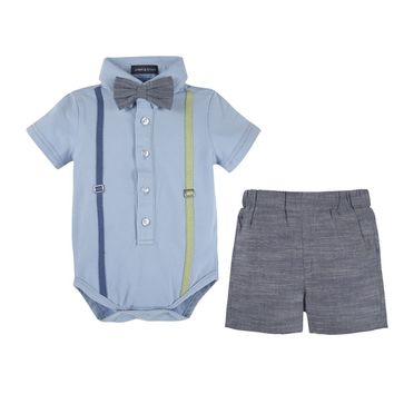 Blue Polo Shirtzie & Woven Short