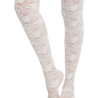 LOVEsick White Rose Tights