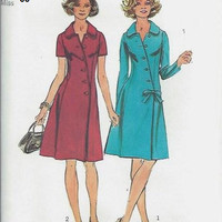 Simplicity 5912 Sewing Pattern Retro 70s Boho Style Dress Asymmetrical Front A-line Knee Length Business Casual Cocktail Plus SIze Bust 38