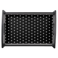 Trendy Black and Gray Polka Dots Pattern Serving Platters