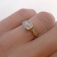 Rainbow moonstone triangle ring   Arrows   Oxidized silver   size 5.5