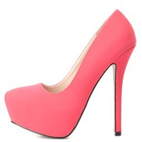 Qupid Glitter-Soled Platform Pumps by Charlotte Russe - Fuchsia
