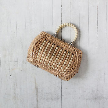 Vintage 60s Wicker Basket Purse with Beaded Handles