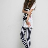 Ostart Korean Fashion Women Black & White Vertical Stripes Leggings Tights Pants