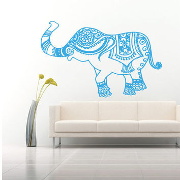 Wall Decal Vinyl Sticker Decals Art Home Decor Design Murals Indian Elephant Floral Patterns Mandala Tribal Buddha Ganesh Bedroom Dorm AN15
