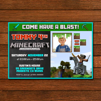Minecraft Unicorn Invitation