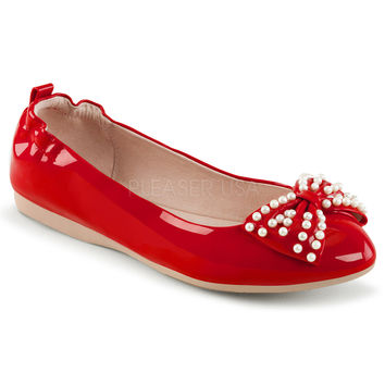 Pin Up Couture Ivy Red Patent Ballet Pearl Flats