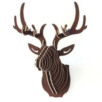 Wooden Creative Model Wall Hanging Deer  Wood  Home Decoration Animal