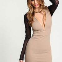 Taupe Mesh Sleeves Plunge Bodycon Dress