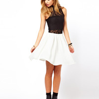 Glamorous Sleeveless Skater Dress with Lace High Neck