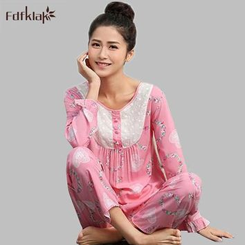 High quality 2017 new pyjamas women cotton pijama vintage print long sleeve pajamas sets autumn winter womens sleepwear A730