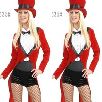 Ring master costumes lzq,  Red black S M L, very cheap sexy lingerie, cheap sexy costume, cheap halloween costume - HotSaleWear.Com