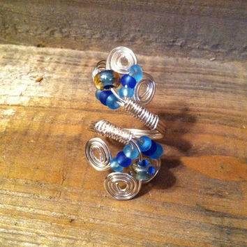 Silver Tone Spiral Ring - Adjustable Ring, Blue Beaded Ring, Beaded Wire Ring - Statement Ring, Cocktail Ring - Spiral Ring