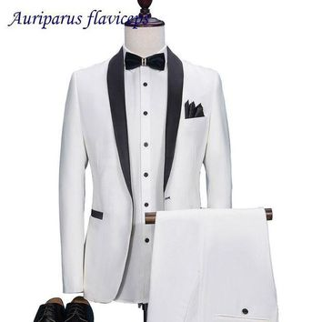 PEAPFS2 New High Quality 2018 White Groom Tuxedos Slim Fit Tailored Suit Black Shawl Lapel Wedding Suits For Men (Jacket+Pants)