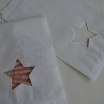 Small Off white paper bag with a star window set of 20 bags complete with cellophane bag---Party favor, birthday party or wedding favor