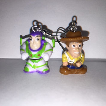 Squinkies Earrings - Woody & Buzz Lightyear - made from re-purposed toys