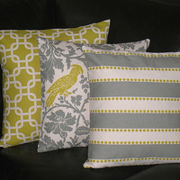 """Pillows Decorative Pillows TRIO chain link, barber bird, lulu 18"""" Throw Pillow Covers gray 18 inch Grey, Olive, Natural"""