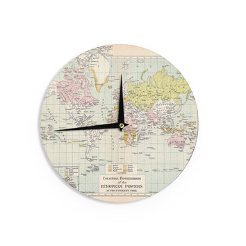 "Catherine Holcombe ""Travel"" World Map Wall Clock"