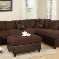 3 pc Chocolate Microfiber sectional sofa with reversible chaise and Free ottoman