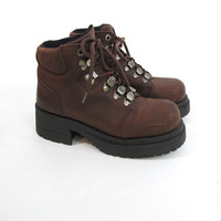 90s Chunky Lace Up Platform Boots Brown Leather Hiking Boots Grunge Heel Ankle Boots Monster Club Kid Boots Timberland Style Boots (8/8.5)