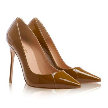 """Shoes: 'PARIS' Tan Patent Leather Pointy Toe Heels 4"""""""