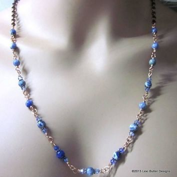 Wire Wrapped Long Blue Sodalite Crystal Gemstone Necklace