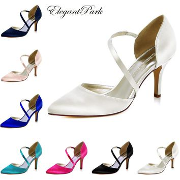 HC1711 Women's shoes wedding bridal high heel Ivory blush pink pointy strap satin lady female bridesmaids evening party pumps