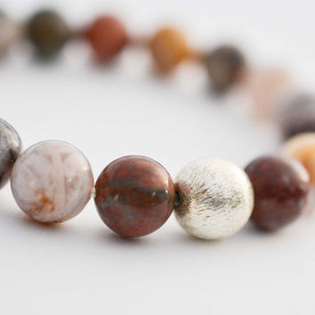 10mm Bamboo Agate Bracelet Grade A Gemstone Bracelet Colorful Brushed Sterling Silver Bracelet Bead Bracelet Boho Bracelet Jewelry Gifts