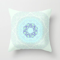 Brain Circle with Blue Flower Throw Pillow by RunnyCustard Illustration