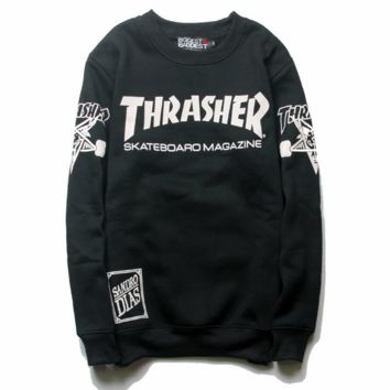 THRASHER Unisex Monogram Print Cotton Long Sleeve T-Shirt Tee Top