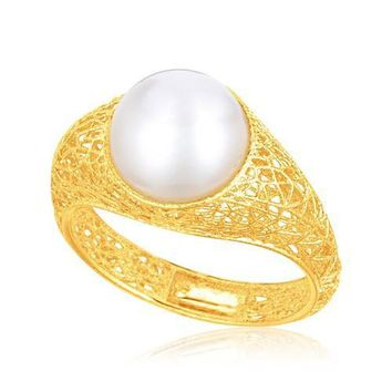 Italian Design 14k Yellow Gold Crochet Ring with Cultured Pearl, size 7