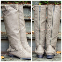 Montana Maple Beige Strap Riding Boots-OUT OF BOX