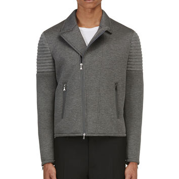 Neil Barrett Grey Neoprene Biker Jacket