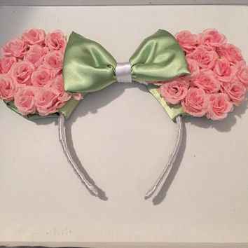 Floral Mickey Mouse Ears Headband (Roses)
