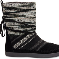Black Suede Textile Mix Women's Nepal Boots